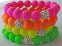 Neon Candy Color Beads Stretch Bracelet Disco Crystal Clay Ball Handmade Women Elastic Bracelets