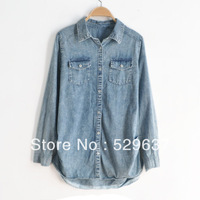 C3-103 plus size clothing 2013 new arrival mm spring long-sleeve denim shirt