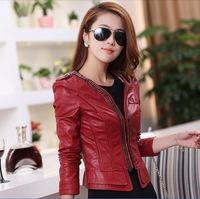 S-XL!Europe 2013 New Slim Leather / Chain Decorated Korean Short Paragraph Advanced PU Leather Motorcycle jacket Free Shipping!