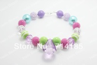 20pcs/lot Purple and Hot Pink Chunky Bead Necklace, Chunky Necklace, Chunky Bead Necklace, Child Girls Necklace