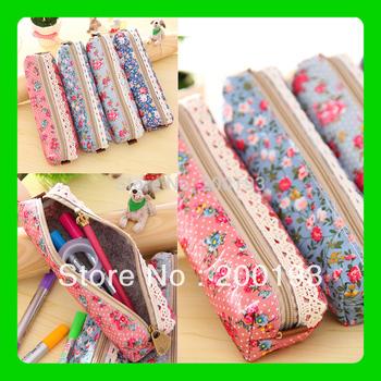 SMILE MARKET Free Gift   Canvas Floral Pen Bag