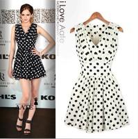 Summer Star Style Brand Chiffon polka Dot A-line V-neck Sleeveless One-piece Slim Women Dress Black White M L XL