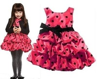 Retail girl cake dress new 2014 summer girl dresses kids dress girl red and pink girl's princess dress