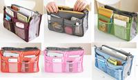 ZH0312 9 Colors good quality available Dual Travel Organizer Bag Handbag Nylon Cosmetic Storage Bag