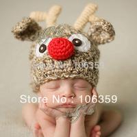 Cute Children Crochet Knit Deer Beanie Hat Baby Animal Cap Photo Props Infant ELF Hat X Xmas Beanies 1pc H002