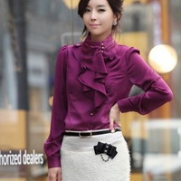 New 2014 Brand Ruffled Blouses For Women/Designer Spring Women Work Blouses/Plus Size Casual Shirts Women