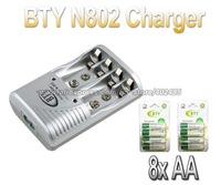 Smart AA AAA Rechargeable Battery BTY N-802 EU / US Plug Charger+8x AA 1.2V 3000mah rechargeable Ni-MH battery