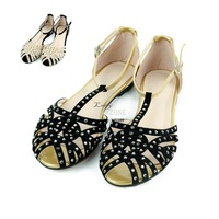 Brand Flat Sandals For Women 2013 New Arrivals Cutout Summer Shoes Sandals Rhinestone Fashion The Sandals 16311