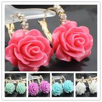 2014 New Free Shipping Rose Flower Drop Earrings For Women Resin Jewelry Dangle Earring