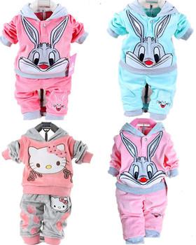 2014 Spring baby set cartoon rabbit velvet set twinset long sleeve set hoodie and pant children clothing free shipping