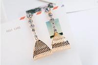 Free shipping ! High Quality 2013 New Fashion Alloy Rhinestones Stud Earrings E01134
