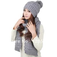 Autumn - winter thermal women's hat grey scarf set kit 0146 2 piece set