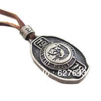 Wholesale(Min.Order $15)100% Genuine Leather 2013 Men Long Necklace Punk Vintage Leather Necklace Hero Pendant Gifts VN102