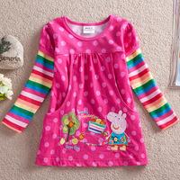 2013 summer baby peppa pig t shirt girls brand t shirt kids dot t shirt children rainbow long sleeve tops free shipping