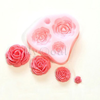 3D Silicone Cake Toppers Chocolate Soap 4 Rose Flower Sugarcraft Decorating Mold