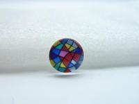 10pcs 12mm Handmade Photo Glass Cabochons ( Geometry Stripe) GB27-12
