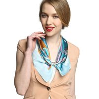 2013 women's spring flower printed mulberry silk scarf in square 52*52cm