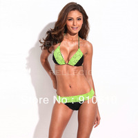 Free shipping Lace Triangle Bikini Set with Braided Ties and Light Removable Padding