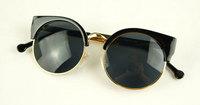 Free Shipping New 2013 Super Retro Glasses Half Metal Rim Vintage Women Sunglasses Fashion Designer Sunglasses Women