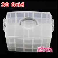 30 Grid Transparent Plastic Box Cosmetic Case Nail Art Pill Box Portable Storage Container Parts Stones Tools