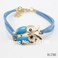 Min. order $15 mix colors leathers new cute owl charm bracelet animal jewelry for girls free shipping
