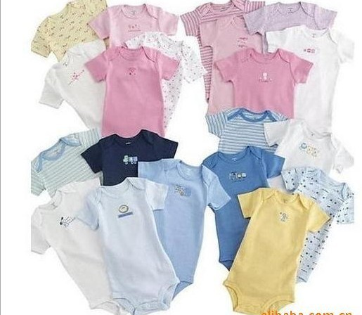5 pcs/lot 3~24M/Can choose sizes Wiggle-in Bodysuit Short Sleeve Infant Romper Girl& Boys jumpsuit Free shipping YY1228(China (Mainland))