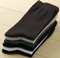 Superior Quality 100% Guaranteed Men's Black Cotton Normal Thickness Breathable Dress Socks -20 pcs a Lot-- Free Shipping