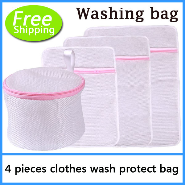 4pcs four Size Laundry Bag Protect Clothes Wear And Tear, Nylon Net bra underware washing protect bag(China (Mainland))