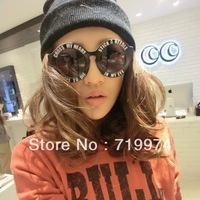 2013 New Fashion Women's Plastic Round Glasses Big Circle Letter Sunglasses Vintage Sunglass Woman Black Stripe Dot  UV 400