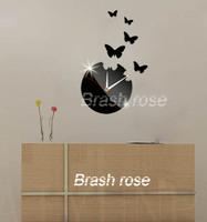 (7pecs/set) wall silver/black butterfly clock decor diy crystal mirror vintage wall clocks bedroom art wall watch z040