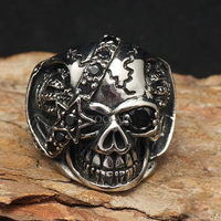 Hip Hop Gothic Punk Skull 316L Stainless Steel Rings For Men 2014 New Fashion Jewelry Free Shipping