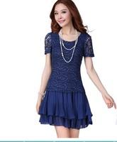 Korean Hollow Out Plus Size Clothing Summer 2015 Slim Lace Chiffon Dress , Fat People Dress , XL-2XL-3XL-4XL