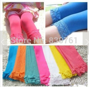 Free shipping 10pc/lot baby girl velvet leggings kid candy color children lace  leggings  fashion cute stocking