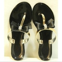 2013 wind jelly crystal fruit bow rhinestone flip flops sandals women's shoes FREE DELIVERY