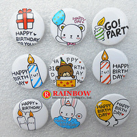 Free Shipping Wholesale Photo Color/Novelty Backpack Accessories/Birthday Party Badges/Kid Gift Pin Badge 2.5cm 108pcs/lot