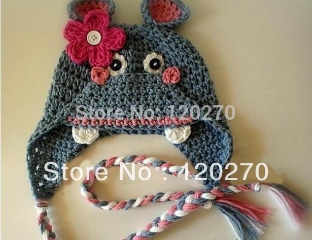 Free Shipping Handmade Crochet Newborn Baby Boys Hat Grey Hippo Mouse Beanie Earflap Knitted Hat Kids Winter Animal Pattern Caps(China (Mainland))