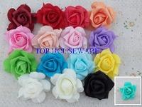 16C available 100pcs 7CM PE artificial rose flower diy wedding  bouquet brooch wrist faux leather rose flower