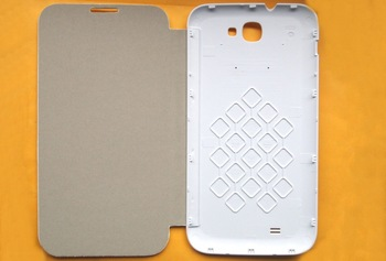 oroginal leather case & Screen Protector smart case for star N9599 Smart cell phone Grey / white