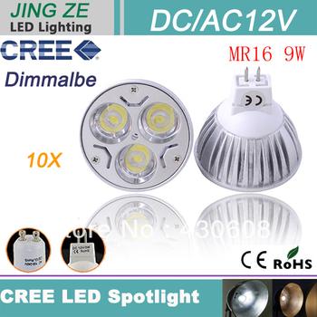 10pcs high quality  CREE MR16 9W 12V Light lamp Bulb LED Downlight Led Bulb Warm/Pure/Cool White free ship