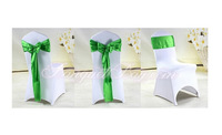 WHITE spandex lycra chair cover with New Green Color satin chair sash  Free shipping