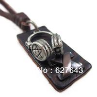 VN170/Wholesale(Min.Order $15)100% Genuine Leather 2013 Men Long Necklace Punk Vintage Leather Necklace Headphone Pendant Gifts