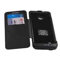 3800mah Extended Backup Battery Case W/Flip Leather Flip Cover for HTC One M7