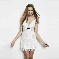 DHL FREE SHIPPING  WHITE Elastic Knitted White Deep-V Sleeveless Tassel Bandage Dress Celebrity Sexy Dress