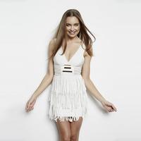 DHL FREE SHIPPING  WHITE Elastic Knitted White Deep-V Sleeveless Tassel Bandage Dress Celebrity Sexy Dress
