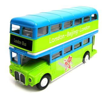 The light version of the London bus double-decker bus plain bus  alloy bus iron toy car model
