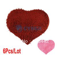 Wholesale 6Pcs/Lot  50X60cm Chenille Bedroom Floor Love Heart Carpet Kitchen Bath Rug Mat Doormat Room Pad 2Colors 16750