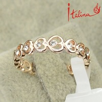 Italina brand Free shipping New 18K Gold Women's crystal heart jewelry made with swarovski element rings