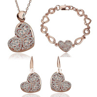 heart crystal jewelry set cheap gold
