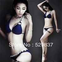 Free shipping 2013 new design bikini triangle swimsuit crystal beads shoulder swimwear for lady