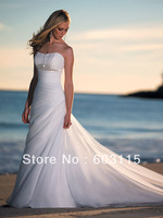 QN130711  Strapless Sweetheart  with Beading Lace Up Beach Wedding  Dresses